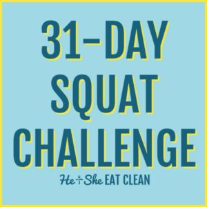 text reads 31-day squat challenge in yellow and blue text