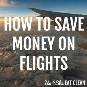 airplane in the sky with text that reads how to save money on flights square