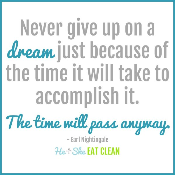 text reads Never give up on a dream just because of the time it will take to accomplish it. The time will pass anyway Earl Nightingale
