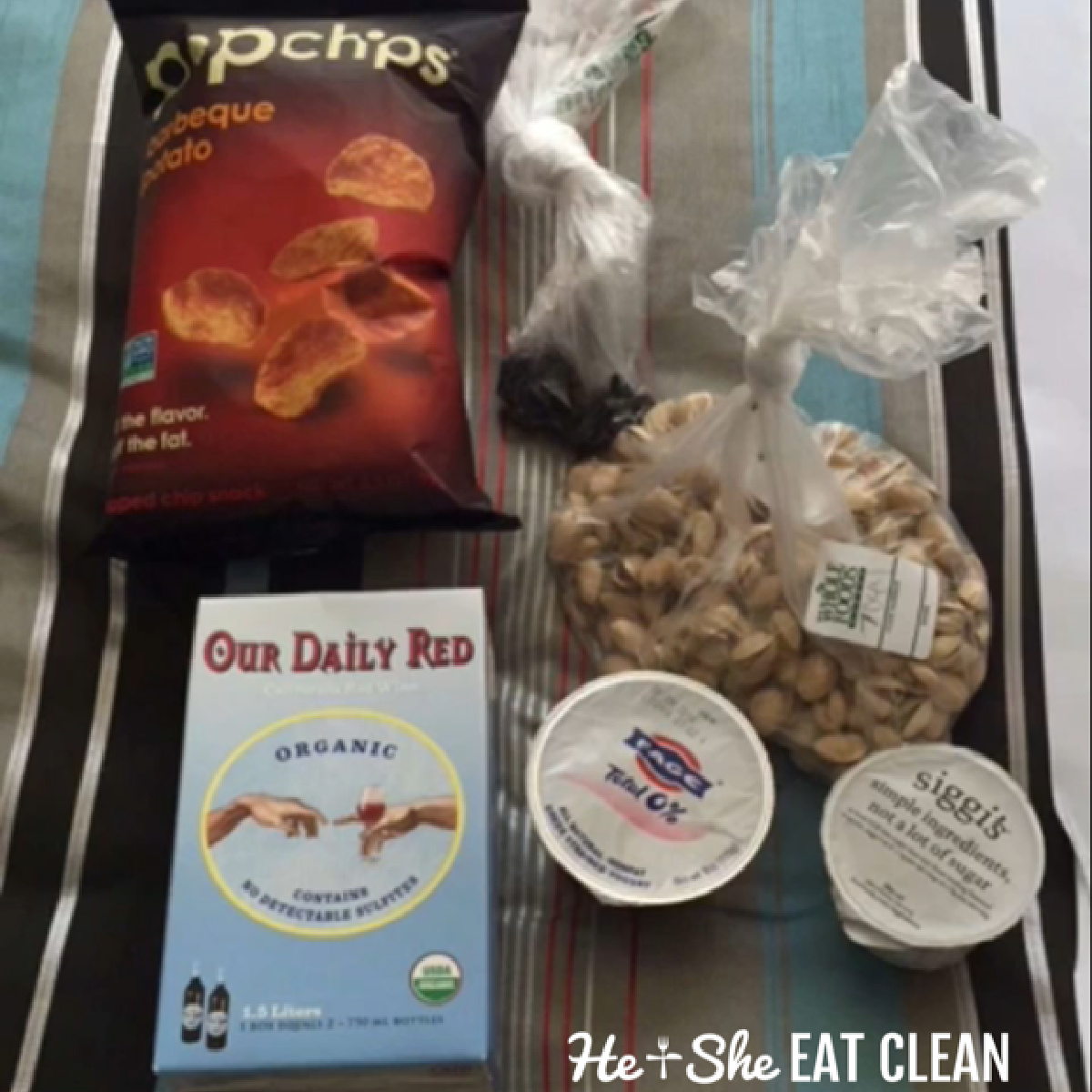 overhead picture of popchips, wine, cashews, and Greek yogurt