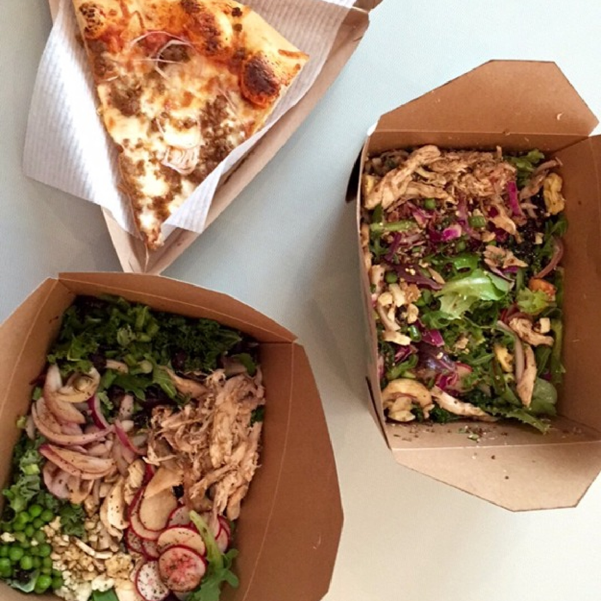 overhead picture of Salad and Pizza from Whole Foods