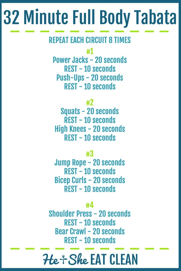 text reads 32 minute full body tabata workout with workout listed