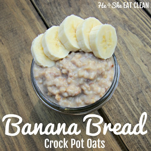 bowl of oats with banana slices on a wooden table with text that reads banana bread crock pot oats