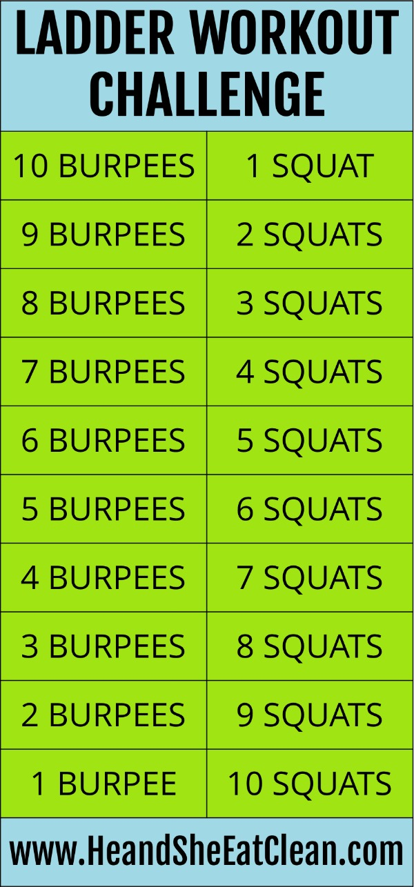 text reads ladder workout challenge - workout with burpees and squats is listed