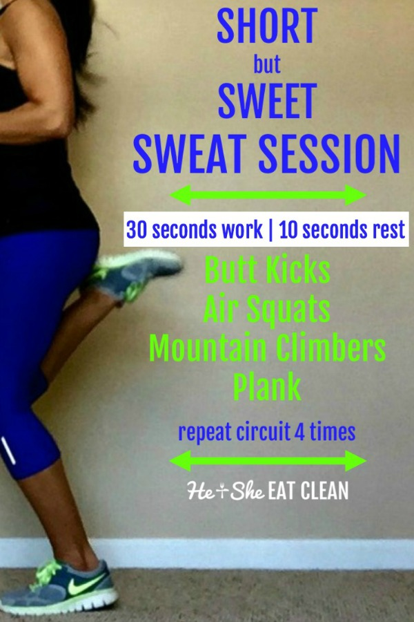 female in black tank and purple capris with short but sweet sweat session listed