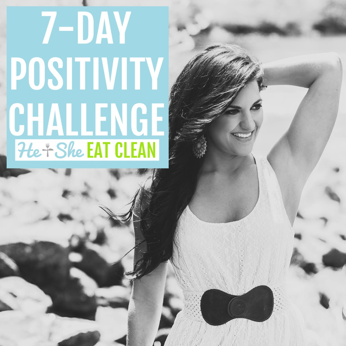 female looking to the right with hand on her head. text reads 7-Day Positivity Challenge