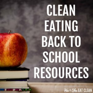 apple on top of stacked books with text that reads clean eating back to school resources square image