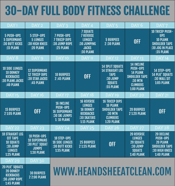 30 day full body fitness challenge chart