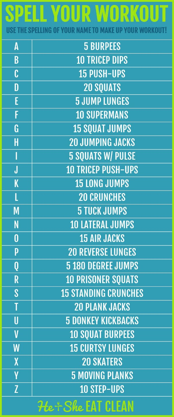 text reads spell your workout with exercises listed for each letter