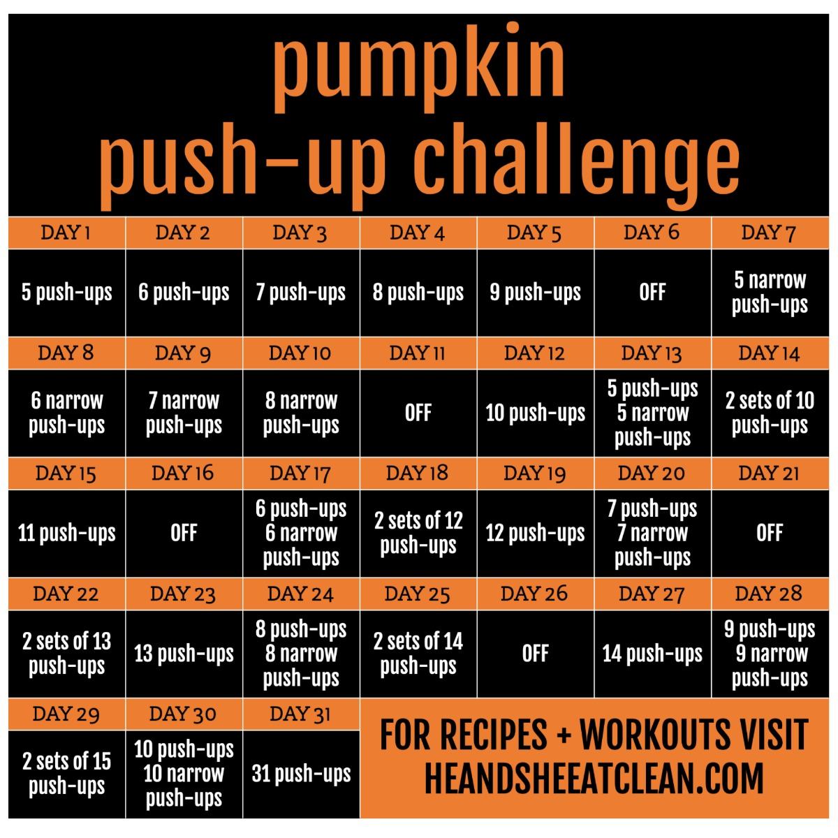 fitness challenge calendar with 31 days of push-ups listed