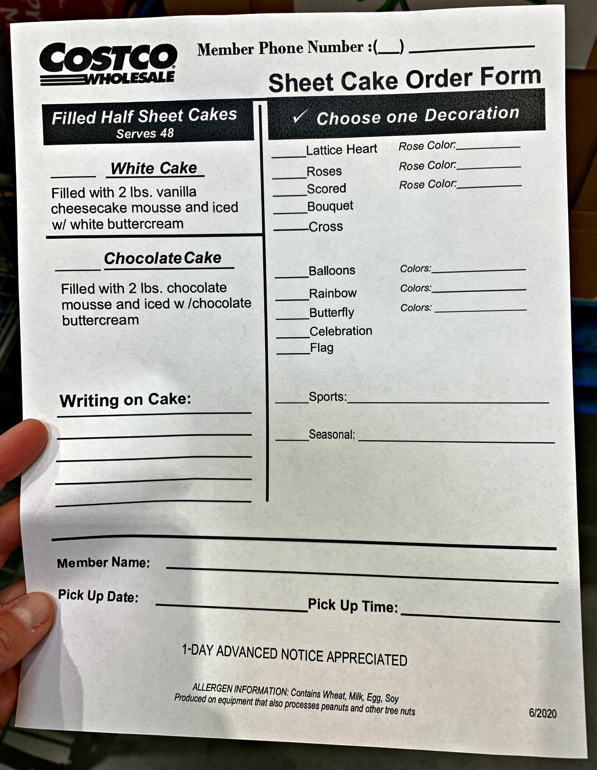 Costco cake ordering form - July 2020