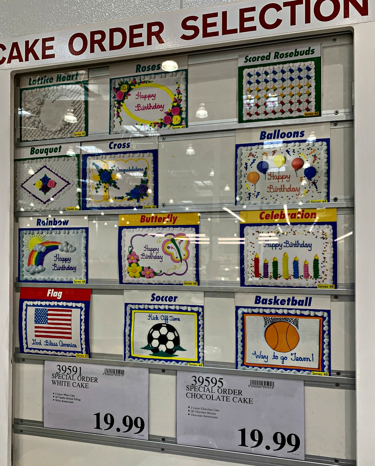 Costco cake ordering kiosk with close up of cake designs - taken July 2020