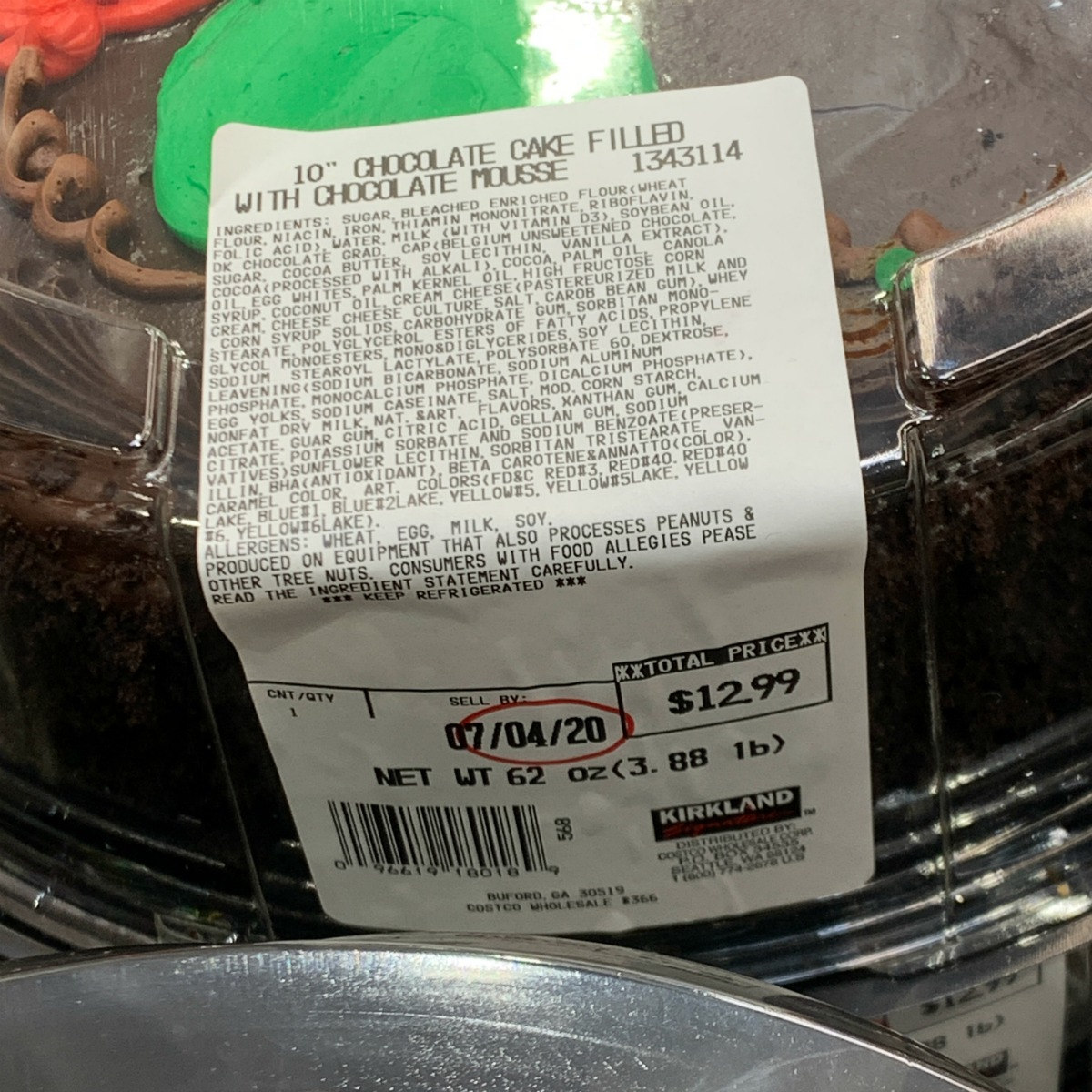 "10"" round chocolate cake from Costco ingredient label"
