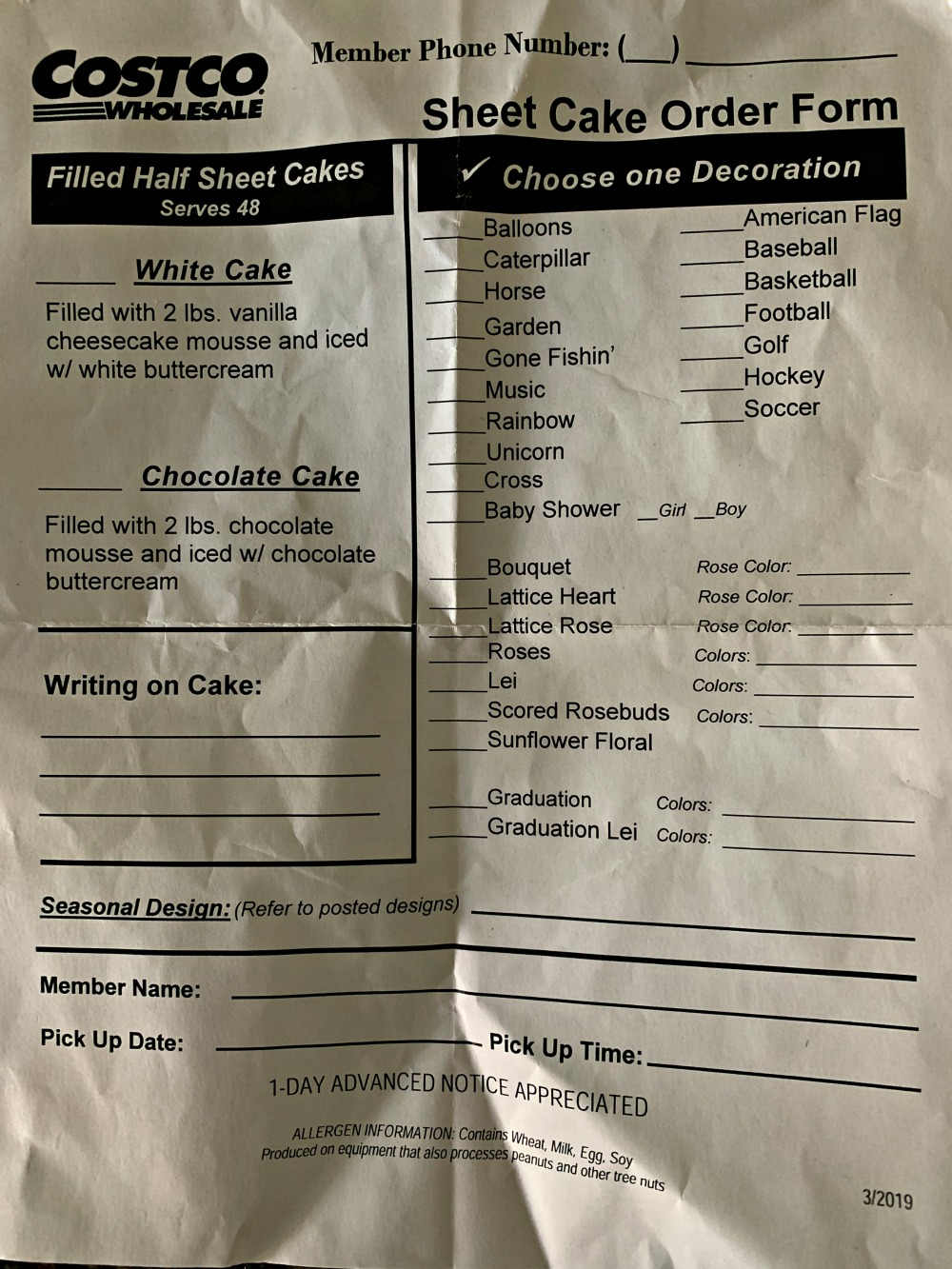Costco cake designs order form PDF: how to order a cake from Costco