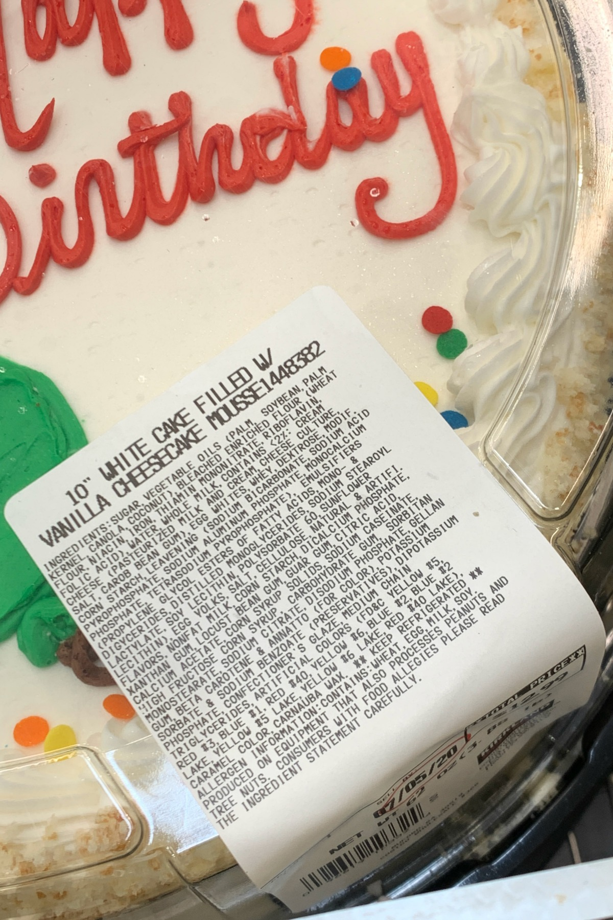 "10"" round white cake from Costco ingredient label"