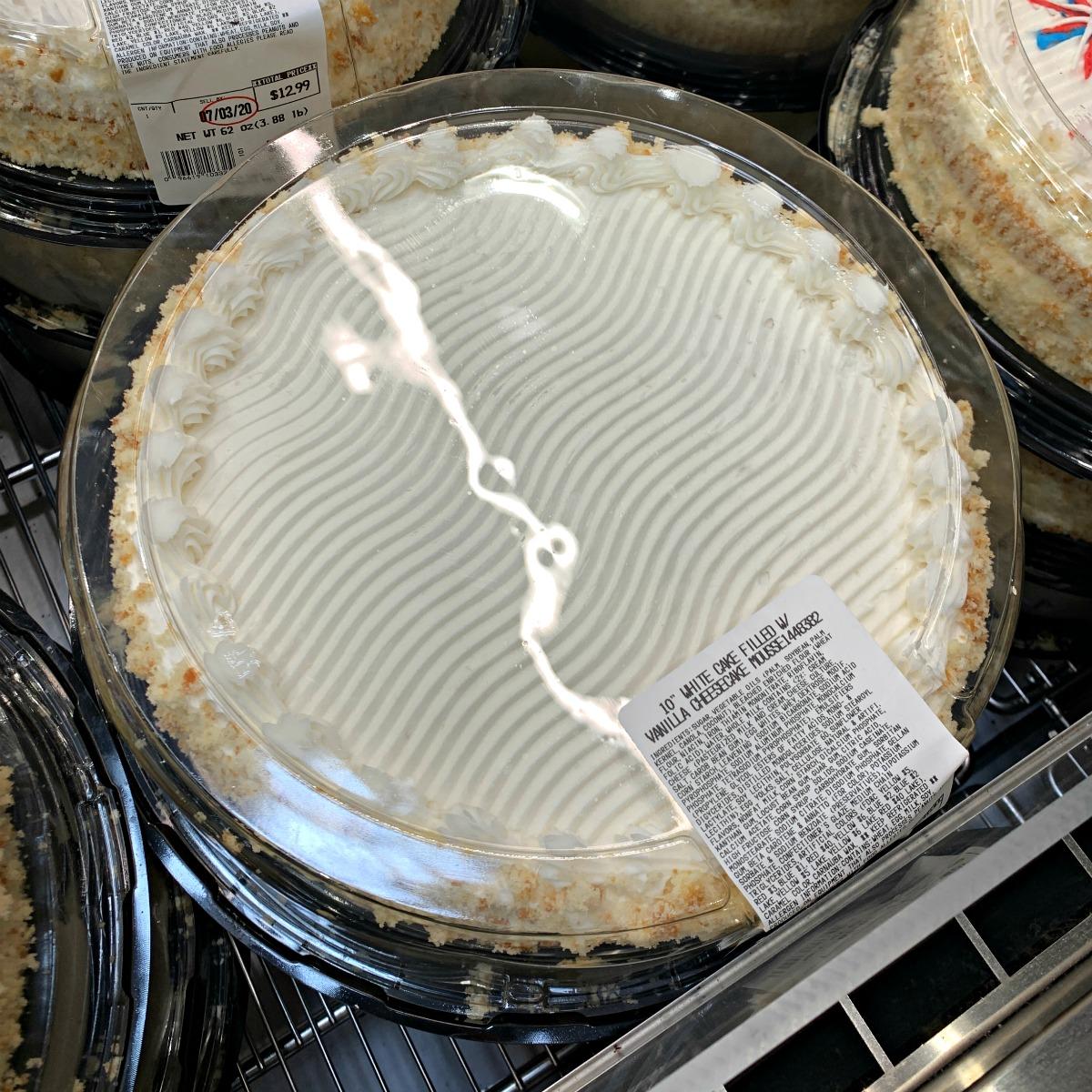 White Costco cake with vanilla cheesecake mousse