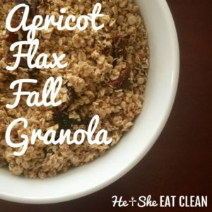 Apricot Flax Fall Granola in a white bowl on a wooden table
