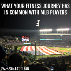 picture of Wrigley Field covered in an American Flag with text that reads What your fitness journey has in common with MLB players
