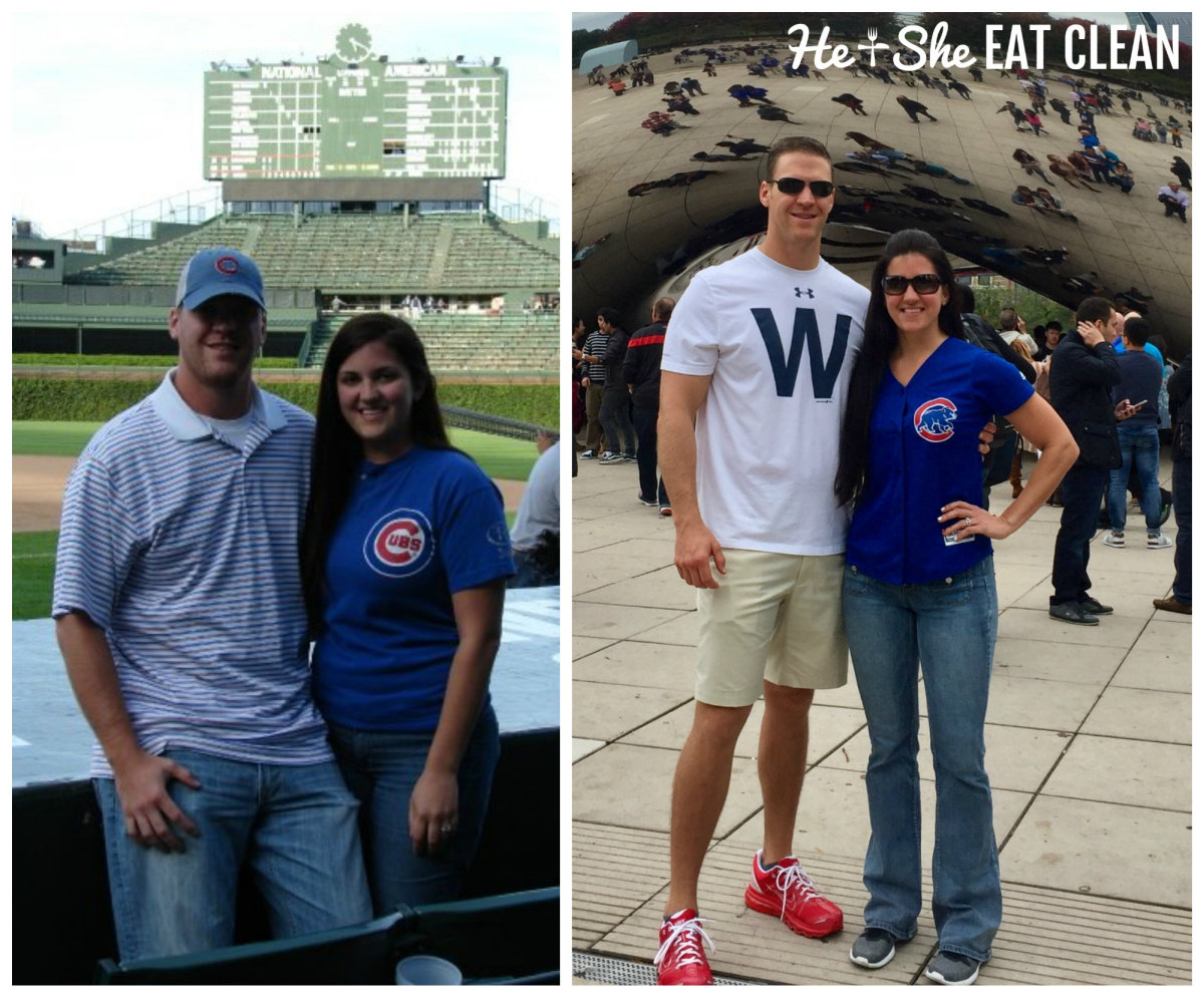 male and female collage of before and after weight loss pictures - wearing Cubs gear in Chicago