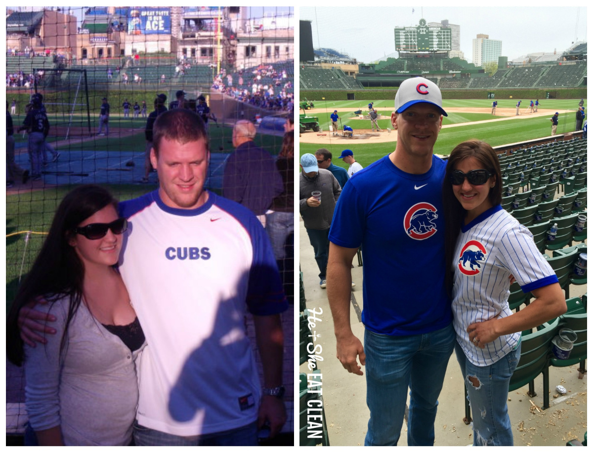 male and female collage of before and after weight loss pictures - wearing Cubs gear