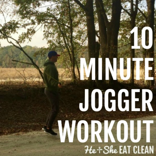 male jumping rope with text that reads 10 minute jogger workout list