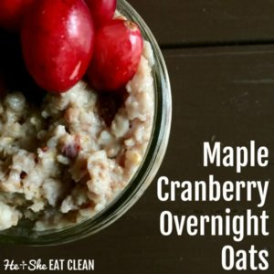 glass of overnight oats with text that reads maple cranberry overnight oats square image
