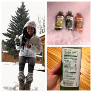 collage of 3 pictures. Female in a snow jacket, Evolution juices in the snow, and nutritional label