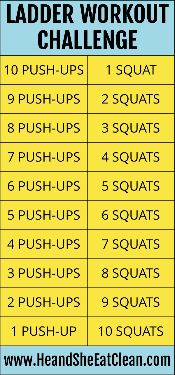 Ladder Workout Challenge Push Ups Squats