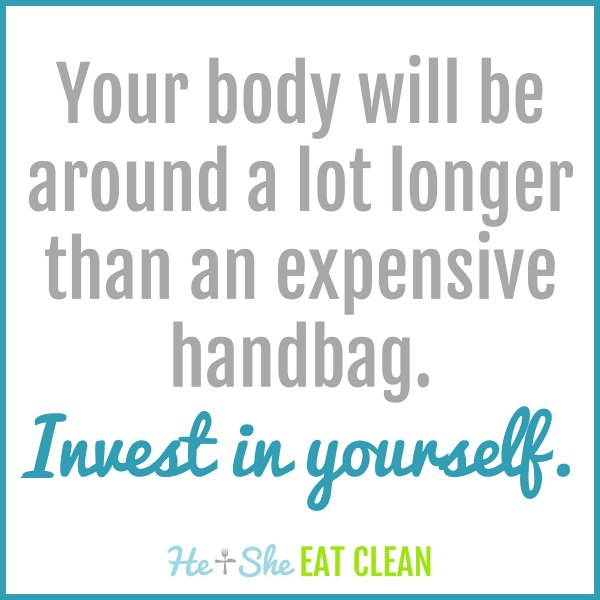 text reads your body will be around a lot longer than an expensive handbag invest in yourself