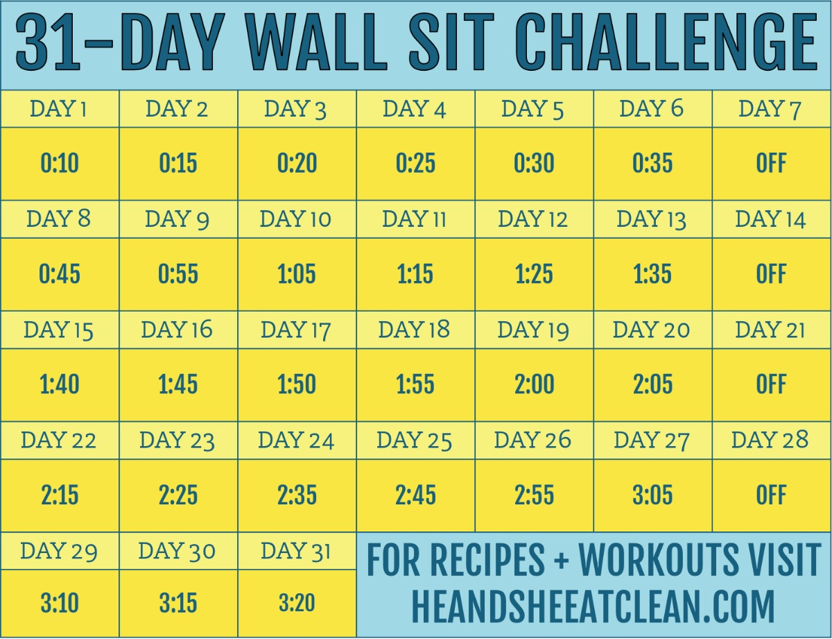 31-day wall sit challenge calendar