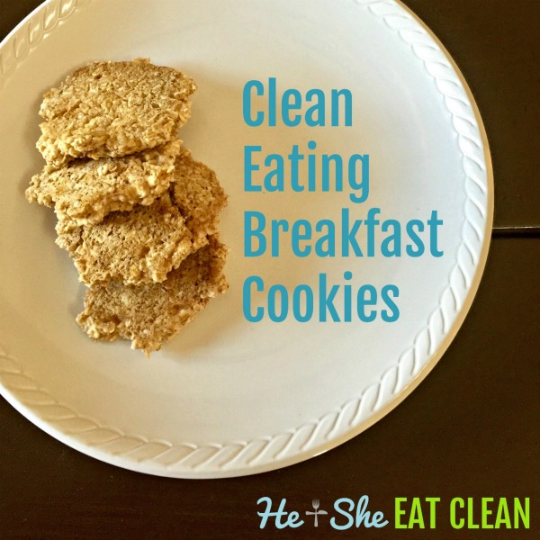 4 cookies on a white plate with text that reads clean eating breakfast cookies