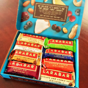 overhead shot of an opened Larabar box with a variety of flavors