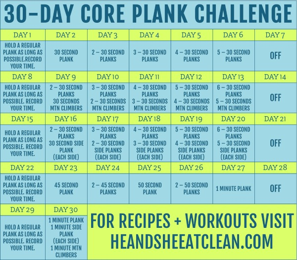 text reads 30 day core plank challenge with chart listed