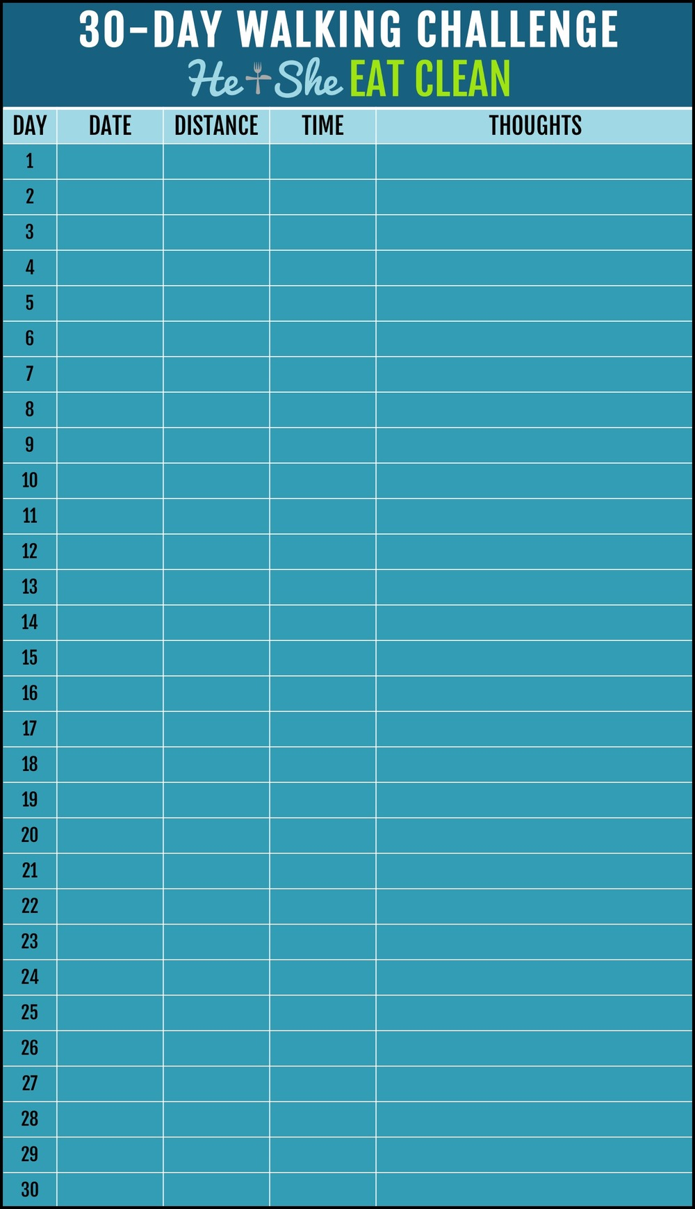 30 day walking challenge blank chart