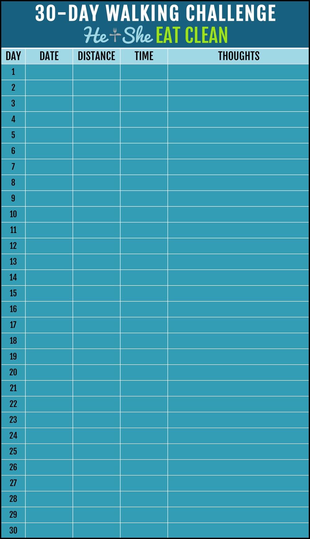 30 day walking challenge blank chart