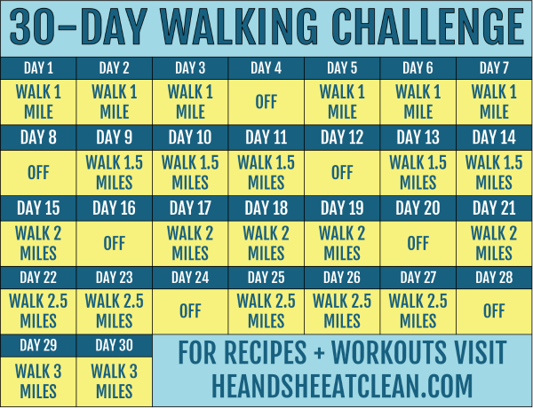 30 day walking challenge calendar