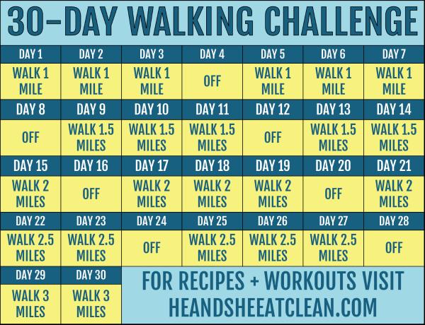 30 day walking challenge calendar
