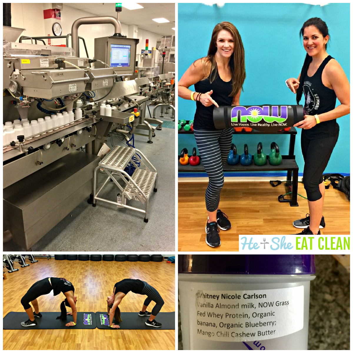 4 photo collage of inside a warehouse, two females holding a yoga mat, two females doing backbends, and a blender bottle
