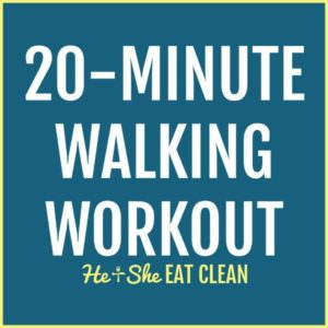 text reads 20-minute walking workout