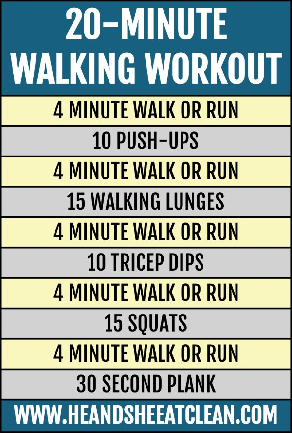 text reads 20-minute walking workout workout listed