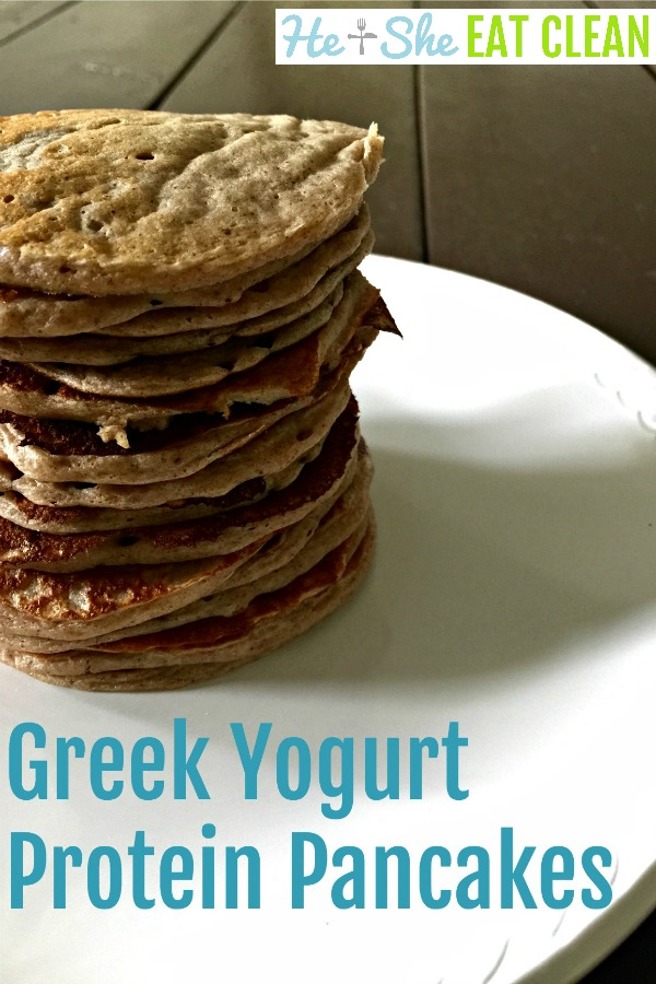 pancakes stacked on a white plate with text that reads Greek yogurt protein pancakes