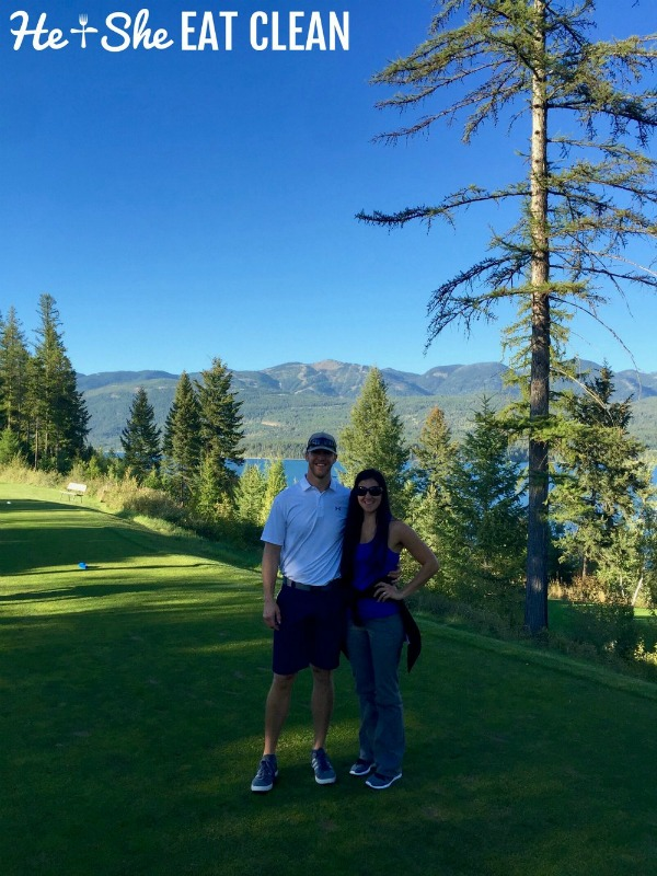 male and female standing on golf course in Whitefish, Montana
