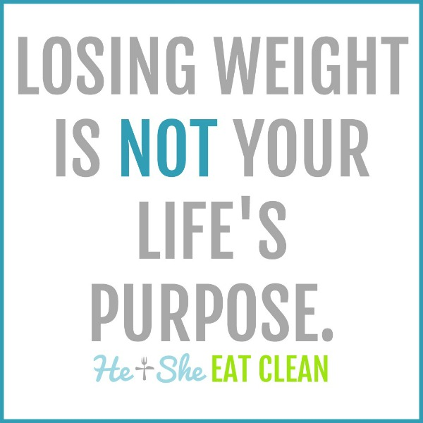 text reads losing weight is not your life's purpose
