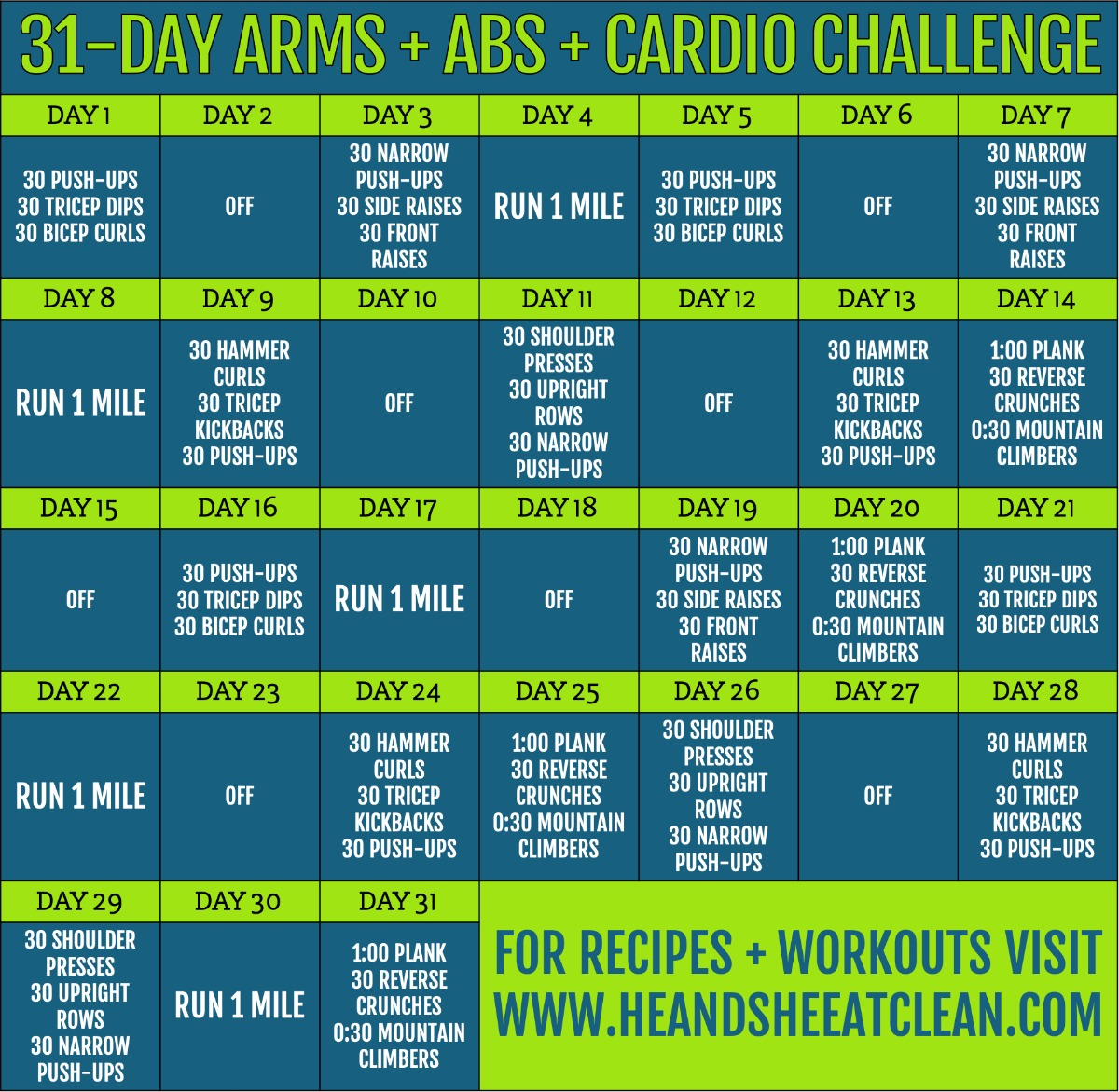 31 day arms, abs, and cardio challenge calendar
