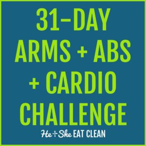 image reads 31-day arms, abs, and cardio challenge