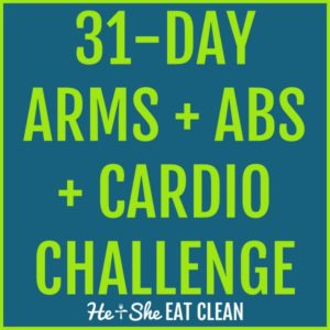 text reads 31-day arms, abs, and cardio challenge