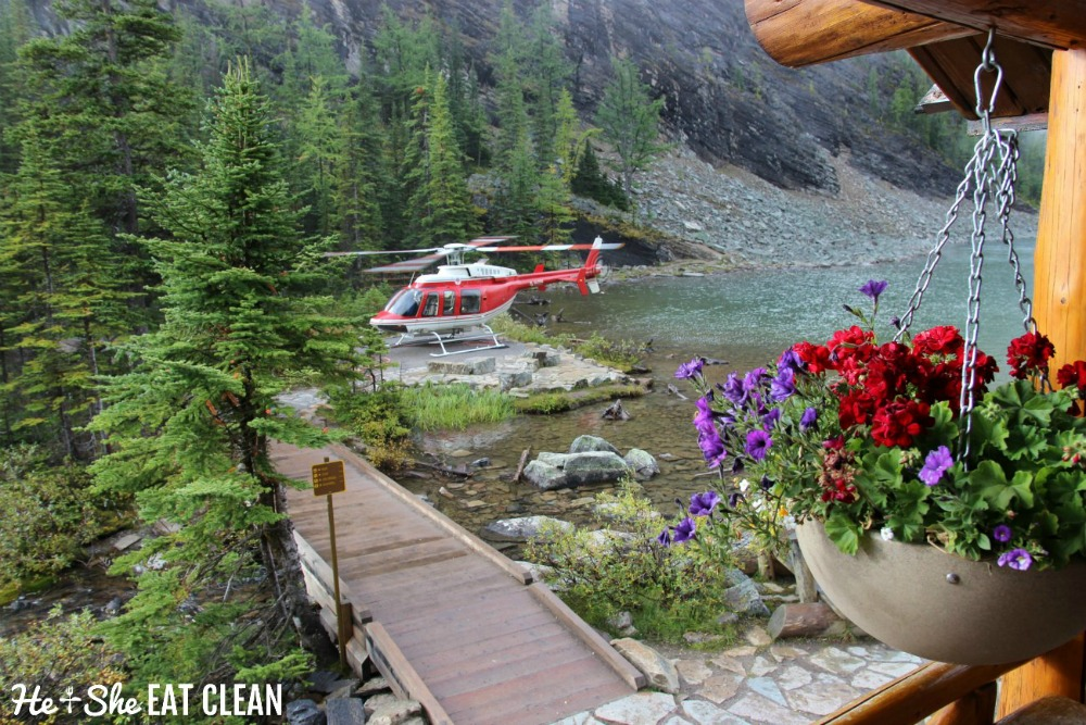 photo of red helicopter landing near a lake with flowers in the foreground in Banff National Park on the Lake Agnes Tea House trail