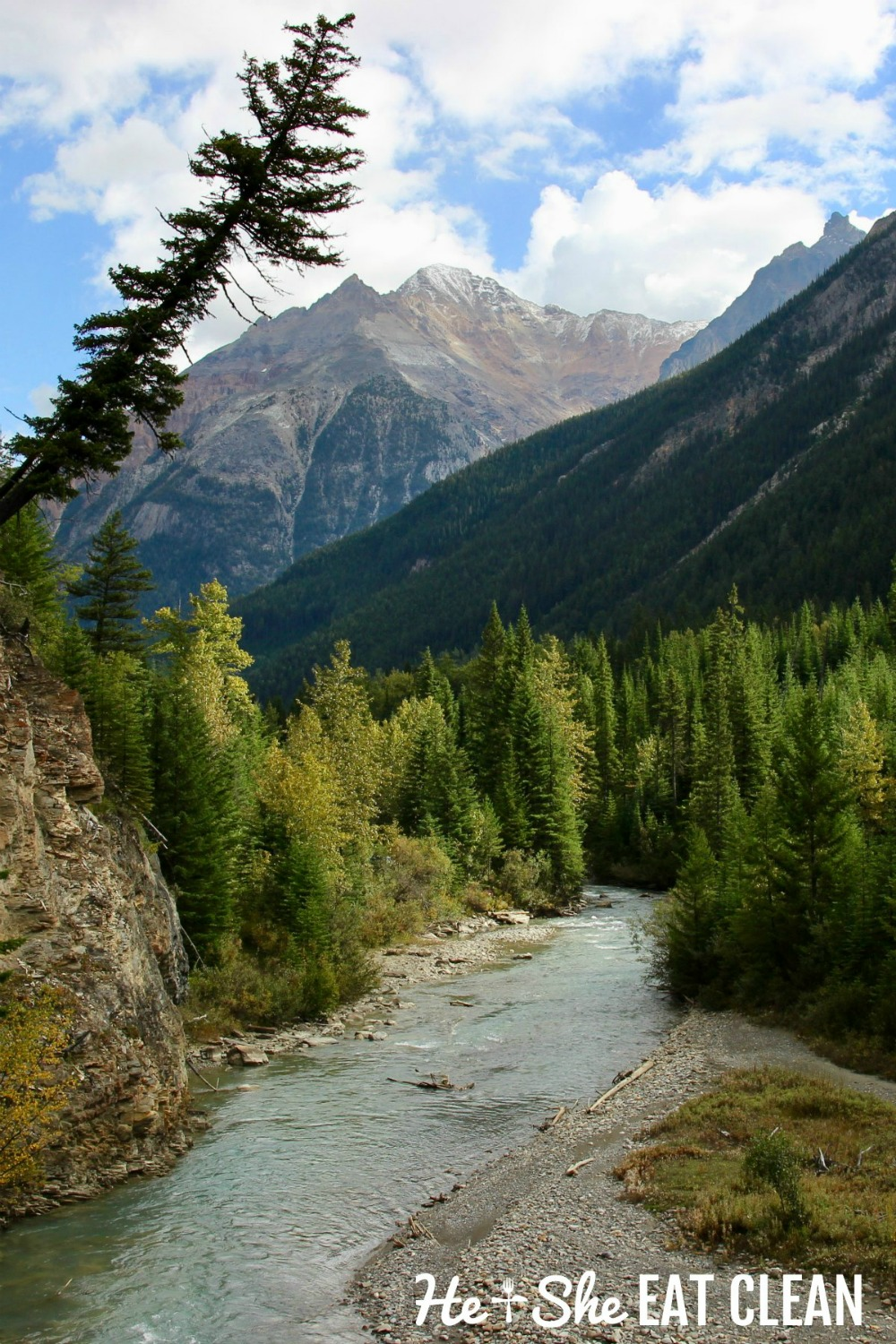 landscape photo of river running through the mountains and green trees at the start of Lake of the Hanging Glacier trail