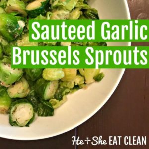 Sautéed Garlic Brussels Sprouts in a white bowl on a wooden table square image