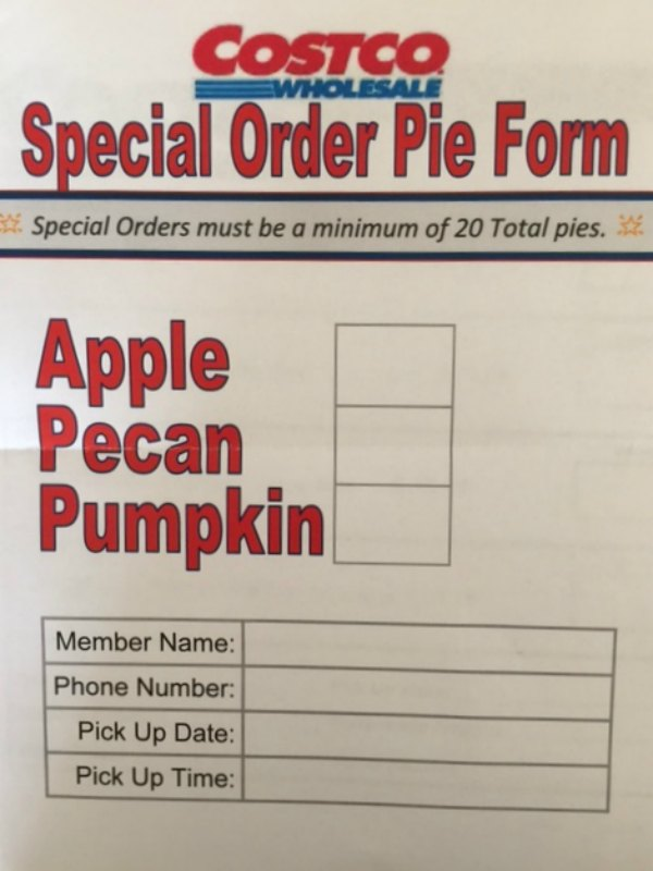order form for how to special order a pie from Costco